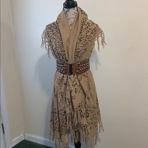 Animal Print Shawl w/ Belt